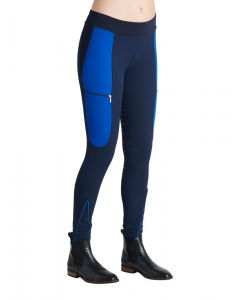 Montar Ladies Maddy Elastic Waist Full Grip Breeches Navy/Royal Blue