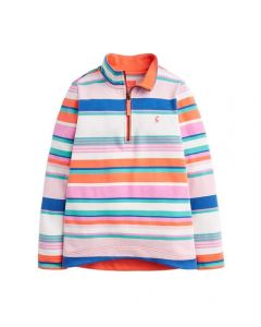 Joules Junior Fairdale Half Zip Sweatshirt Pink Multi Stripe