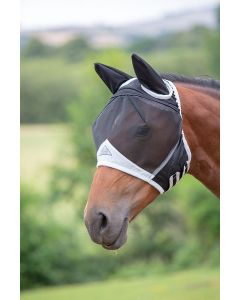 Shires Fine Mesh Fly Mask With Ears Black
