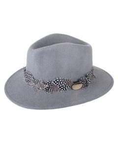 Hicks & Brown Ladies Suffolk Fedora Hat Grey Guinea Feather