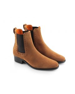 Fairfax & Favor Ladies Brogued Chelsea Suede Ankle Boot