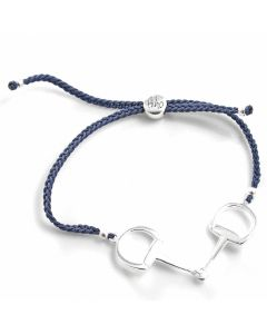 Hiho Silver Snaffle Friendship Bracelet Navy