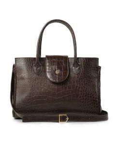 Fairfax & Favor Ladies Langley Handbag Brown Faux Croc