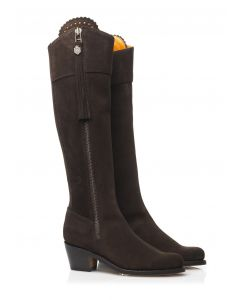 Fairfax & Favor Ladies Heeled Regina Suede Boot Chocolate