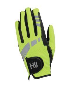 Hy Equestrian Hy5 Extreme Reflective Softshell Gloves Yellow - Chelford Farm Supplies