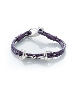 Hiho Silver Sterling Silver Snaffle Leather Bracelet Berry