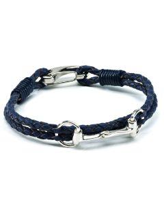 Hiho Silver Sterling Silver Snaffle Leather Bracelet Navy
