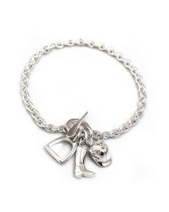 Hiho Silver Sterling Silver Fob Bracelet With Equestrian Charms