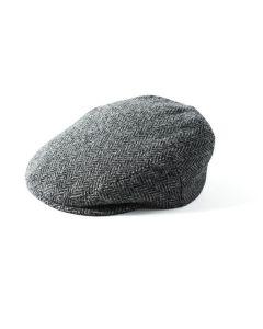 Failsworth Stornoway Harris Tweed Flat Cap Grey Herringbone