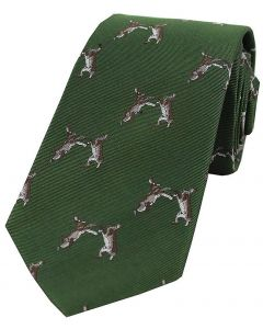 Sax Mens Woven Silk Tie Country Hares Green