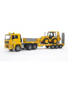 Bruder Toy MAN TGA Low Loader Truck with JCB 4CX Backhoe Loader