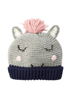 Joules Kids Girls Chummy Knitted Hat Grey Horse