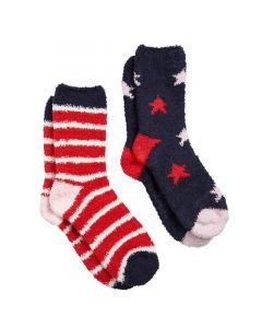 Joules Ladies Fabulously Fluffy Shortie Socks 2 Pack