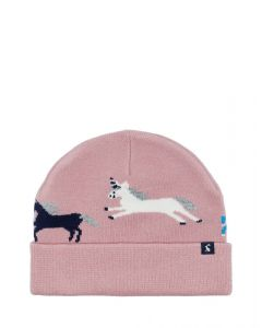 Joules Kids Girls Neddy Knitted Hat Pink Unicorns