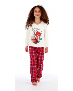 Platinum Childrens Festive Horse Print Pyjamas White/Red