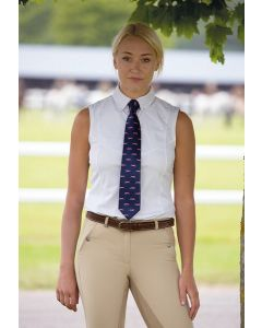 Shires Ladies Sleeveless Tie Show Shirt White