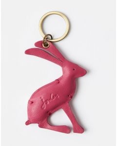 Joules Ladies Hangby Leather Keyring Pink Hare