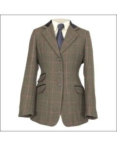 Shires Childrens Huntingdon Show Jacket Green / Pink Check