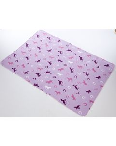 Platinum Fairisle Fleece Blanket Horse Print Pink