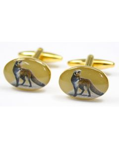 Sax Mens Soprano Fox Country Cufflinks Gold