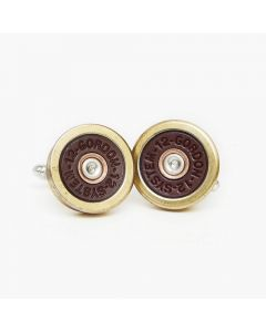 Hicks and Hides 12 Bore Cufflinks Red and Gold - Chelford Farm Supplies