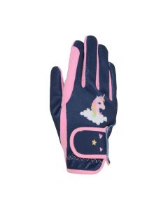 Little Rider Little Unicorn Riding Gloves Navy/Candy Pink - Childs - Chelford Farm Supplies