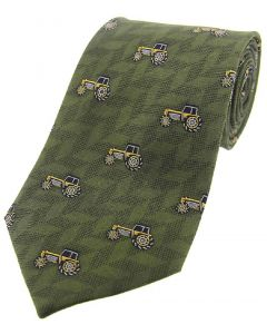 Sax Mens Soprano Yellow Tractors Country Silk Tie Green