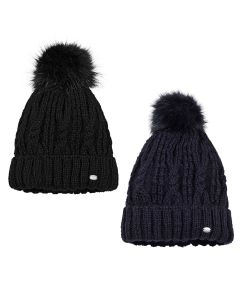 Pikeur Cable Knit Hat With Faux Fur Bobble