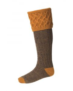 House of Cheviot Rannoch Moor Ochre Socks - Cheshire, UK