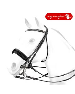 Equipe Rolled Double Bridle With Crystal Browband Black
