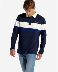 Wrangler Mens Long Sleeve Rugby Polo Shirt