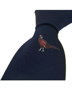 Sax Mens Soprano Single Pheasant Country Silk Tie Navy