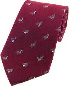 Sax Mens Woven Silk Tie Country Partridges Dark Red