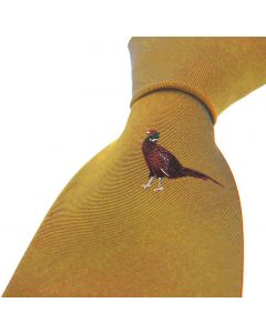 Sax Mens Woven Silk Tie Country Pheasant Mustard