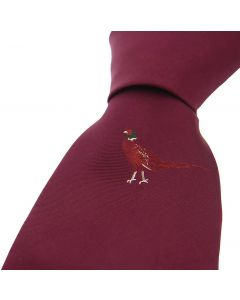 Sax Mens Woven Silk Tie Single Pheasant Wine