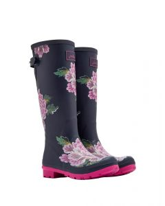 Joules Ladies Wellyprint Wellington Boot Navy Chinoise