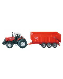 Siku Toy Massey Ferguson 8480 Tractor with Trailer