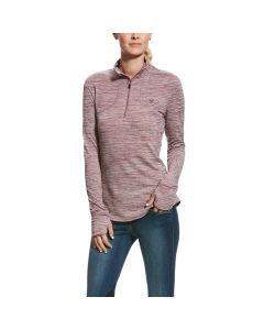 Ariat Ladies Gridwork 1/4 Zip Top Liquorice Root
