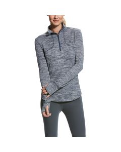 Ariat Ladies Gridwork 1/4 Zip Top Deep Tide
