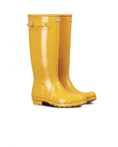 Hunter Womens Original Tall Gloss Wellington Boots Yellow