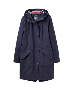 Joules Ladies Raine Long Waterproof Jacket Marine Navy