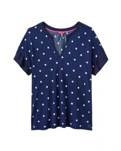 Joules Ladies Katherina Woven Jersey Mix Top