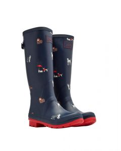 Joules Ladies Printed Wellington Boots Adjustable Back Gusset