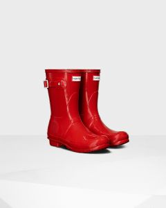Hunter Womens Original Short Gloss Wellington Boots Military Red