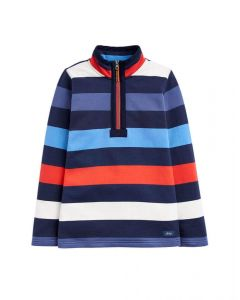 Joules Junior Dale Half Zip Sweatshirt Blue Red Stripe