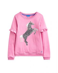 Joules Junior Tiana Frill Sleeve Sweatshirt Light Pink