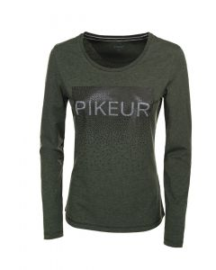 Pikeur Ladies Valentina Long Sleeve Logo Top Pine Green Melange