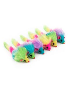 Ancol Furry Rainbow Mice Cat Toy
