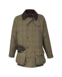 Alan Paine Mens Waterproof Rutland Tweed Field Coat Dark Moss