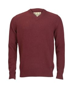 Barbour Mens Essential Lambswool V Neck Sweater Merlot